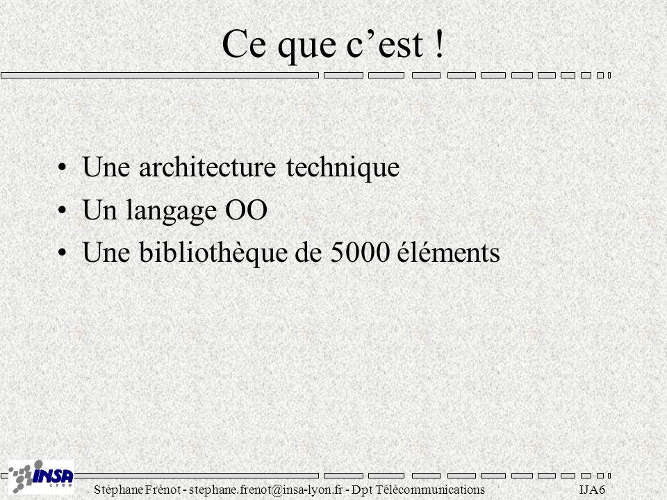 Ce que c'est ! Une architecture technique Un langage OO