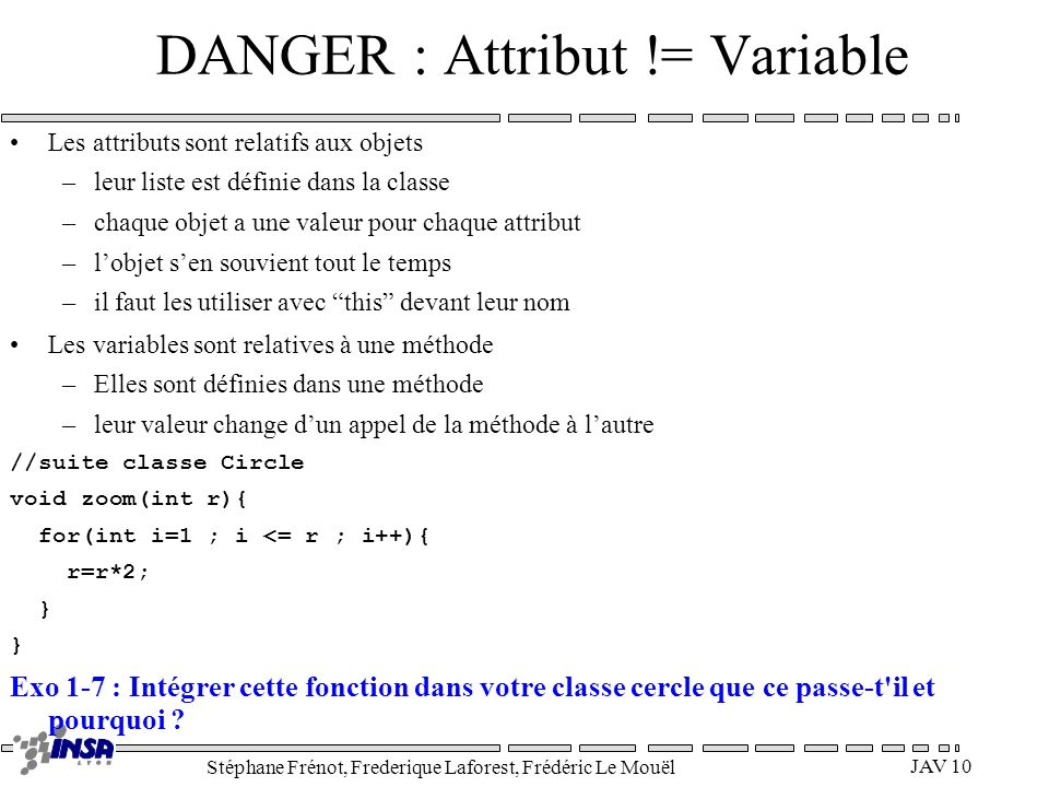 DANGER : Attribut != Variable