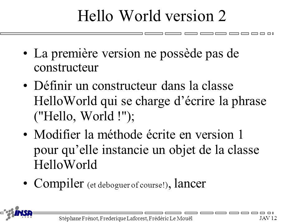 Hello World version 2 La première version ne possède pas de constructeur.