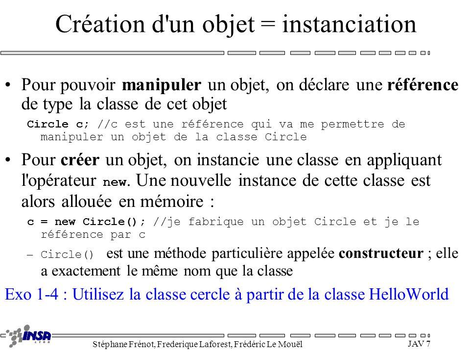 Création d un objet = instanciation