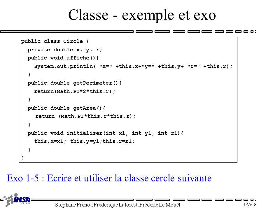 Classe - exemple et exo public class Circle { private double x, y, r; public void affiche(){