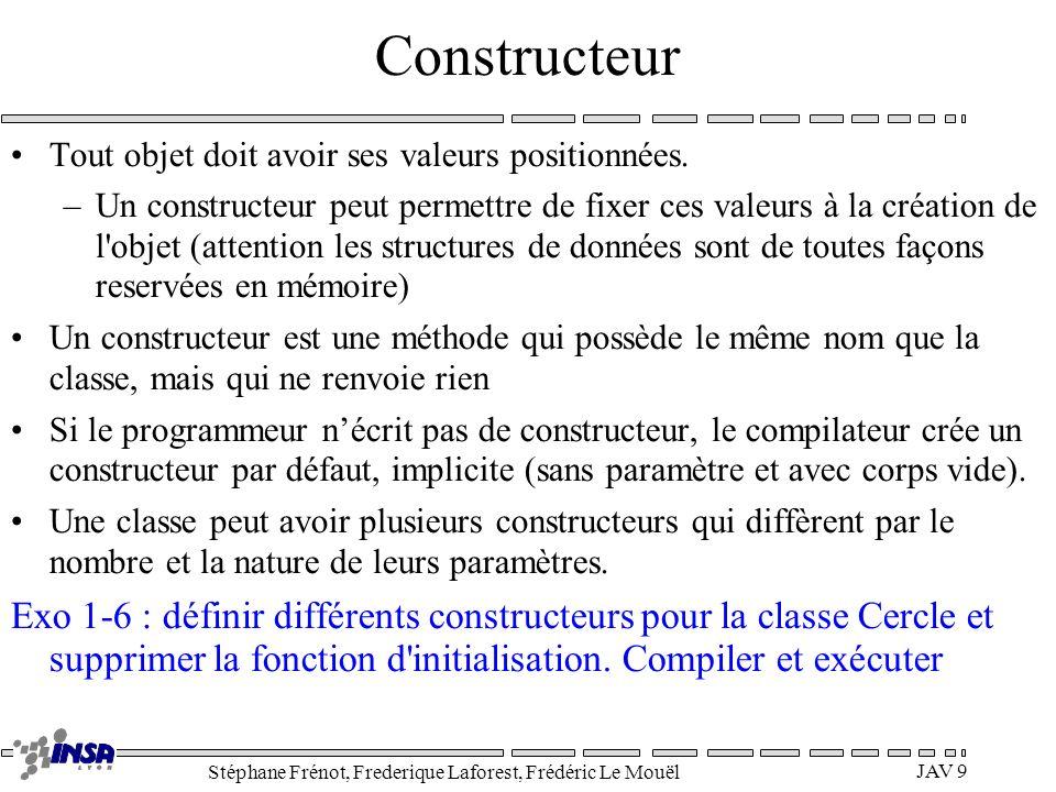 Constructeur Tout objet doit avoir ses valeurs positionnées.
