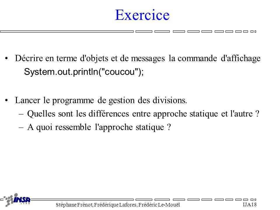 Exercice Décrire en terme d objets et de messages la commande d affichage. System.out.println( coucou );