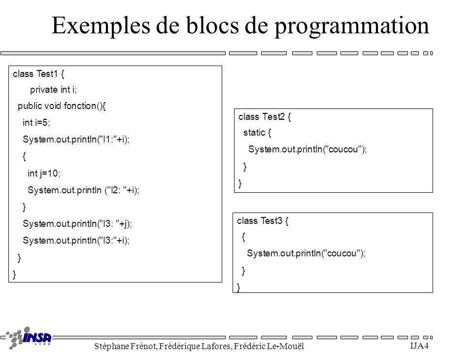 Exemples de blocs de programmation