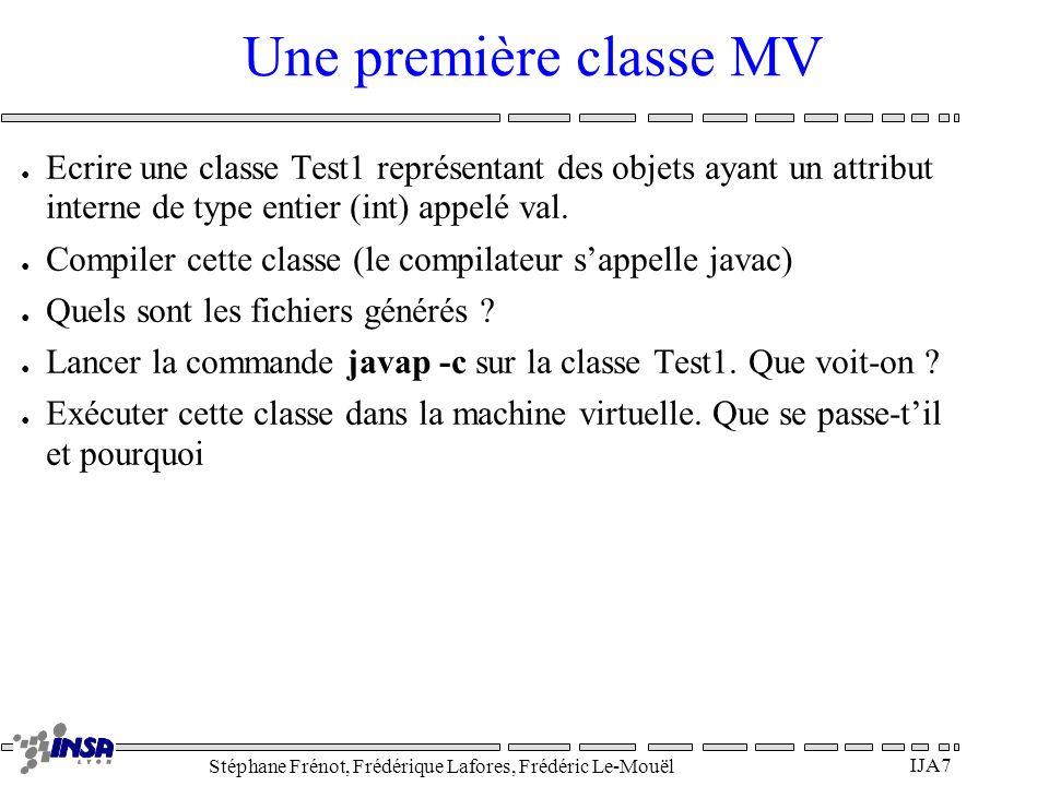 Une première classe MV Ecrire une classe Test1 représentant des objets ayant un attribut interne de type entier (int) appelé val.