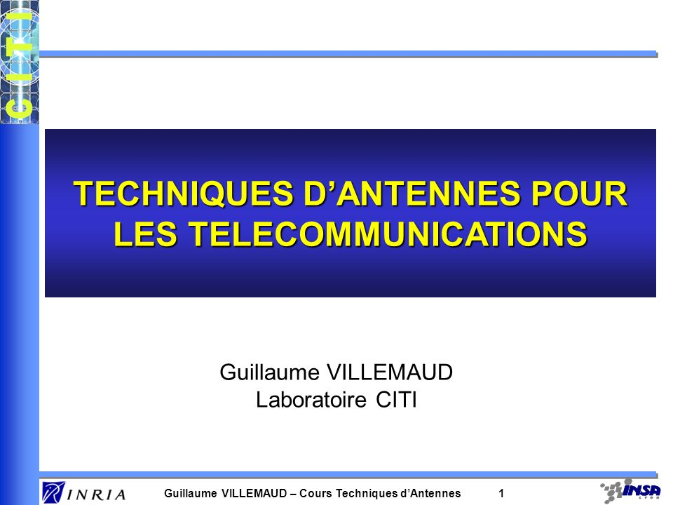 TECHNIQUES D'ANTENNES POUR LES TELECOMMUNICATIONS