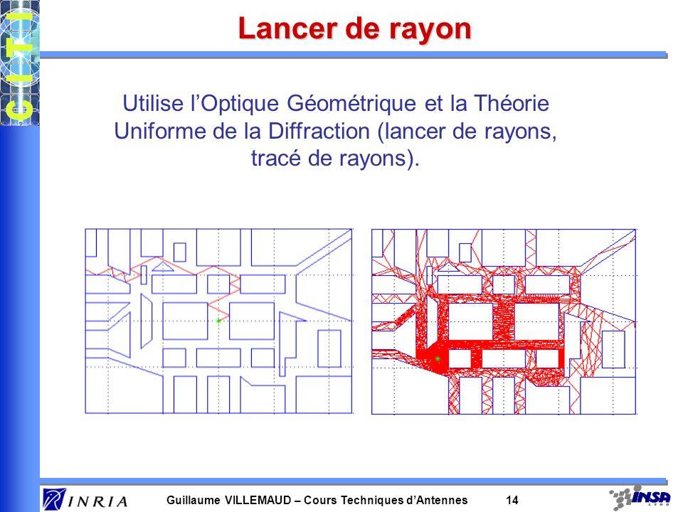 Lancer de rayon Utilise l'Optique Géométrique et la Théorie Uniforme de la Diffraction (lancer de rayons, tracé de rayons).