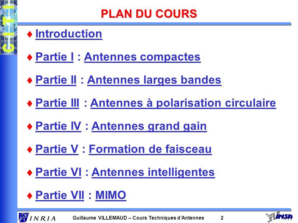 PLAN DU COURS Introduction. Partie I : Antennes compactes. Partie II : Antennes larges bandes. Partie III : Antennes à polarisation circulaire.