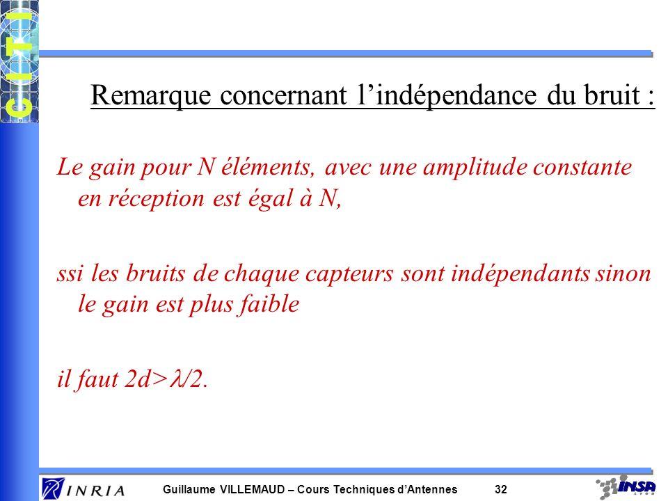 Remarque concernant l'indépendance du bruit :