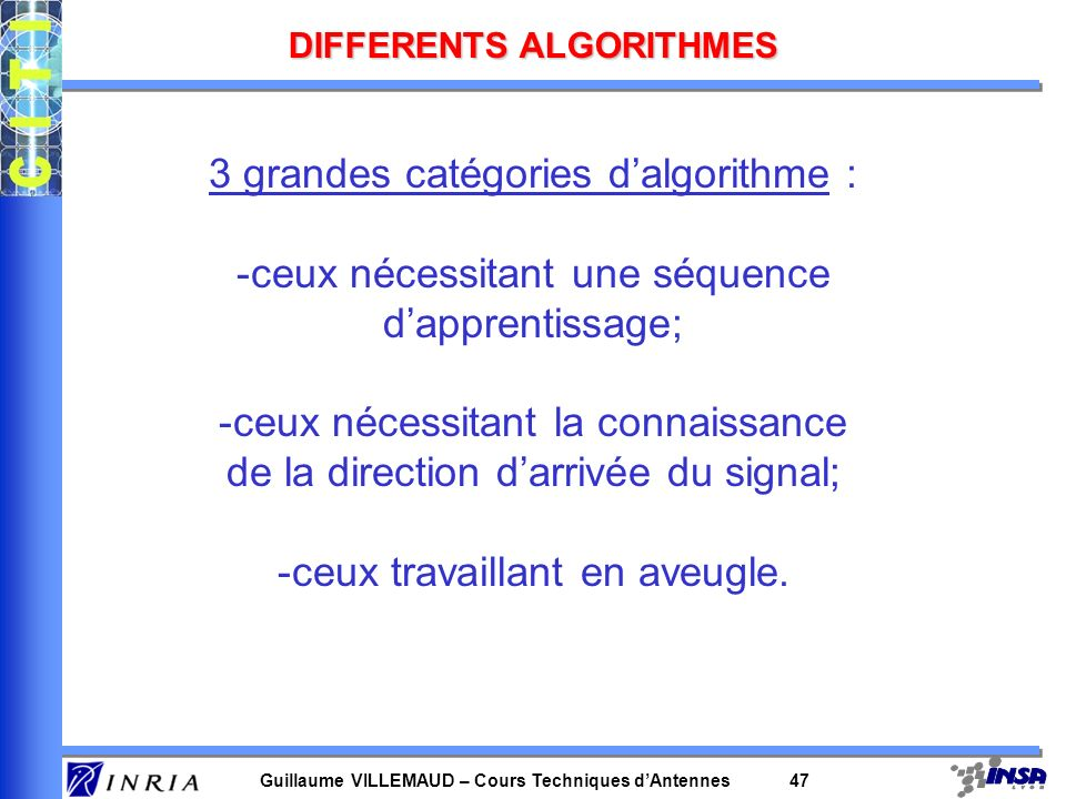 DIFFERENTS ALGORITHMES