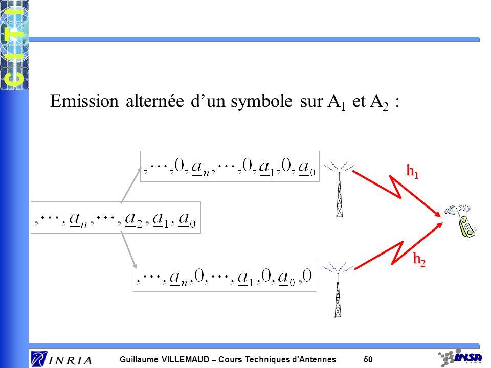 Emission alternée d'un symbole sur A1 et A2 :