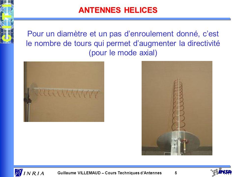 ANTENNES HELICES Pour un diamètre et un pas d'enroulement donné, c'est le nombre de tours qui permet d'augmenter la directivité (pour le mode axial)