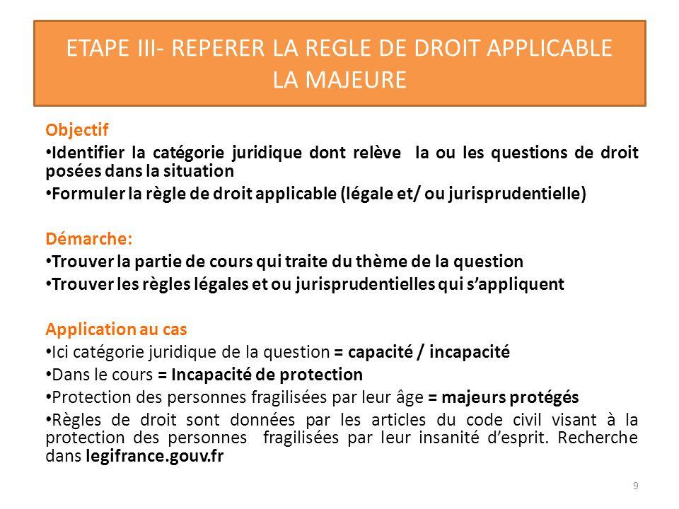 ETAPE III- REPERER LA REGLE DE DROIT APPLICABLE LA MAJEURE