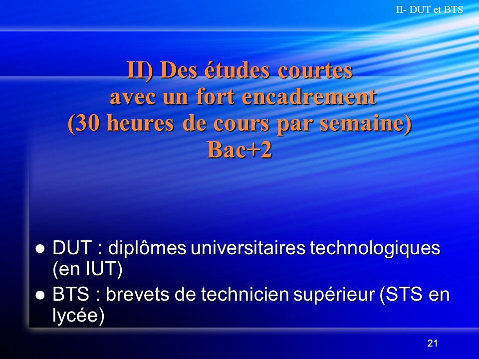II- DUT et BTS II) Des études courtes avec un fort encadrement (30 heures de cours par semaine) Bac+2.