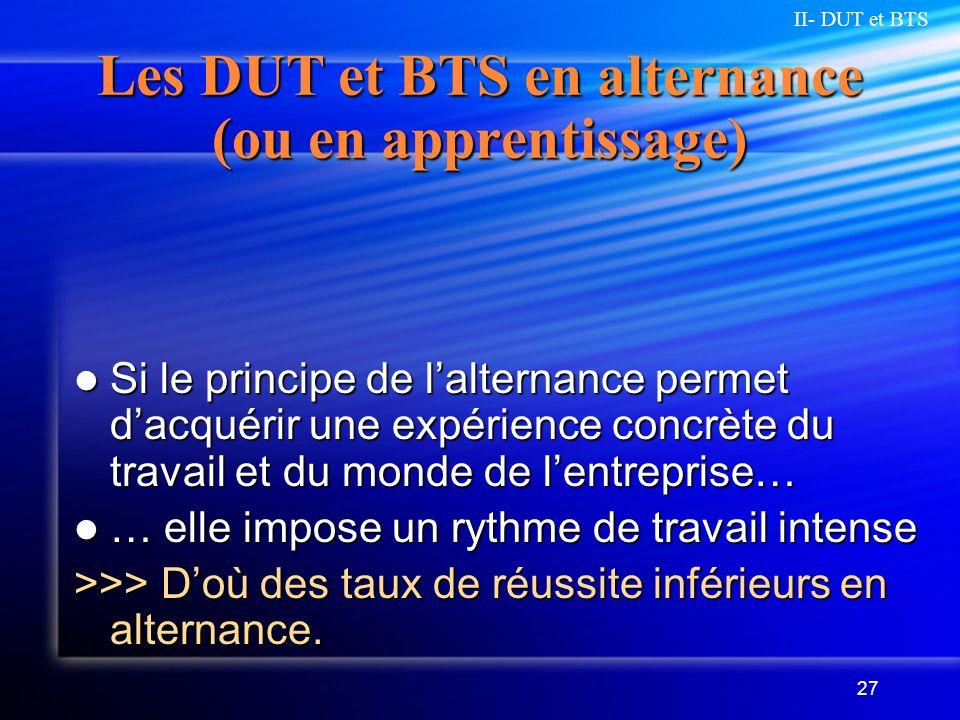 Les DUT et BTS en alternance (ou en apprentissage)