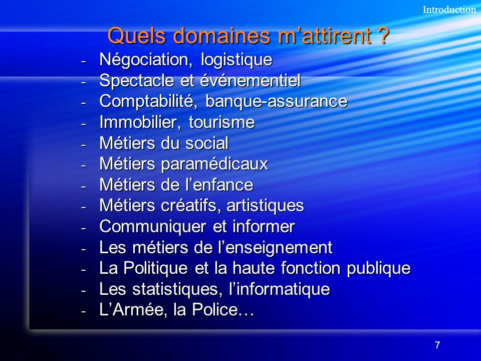 Quels domaines m'attirent