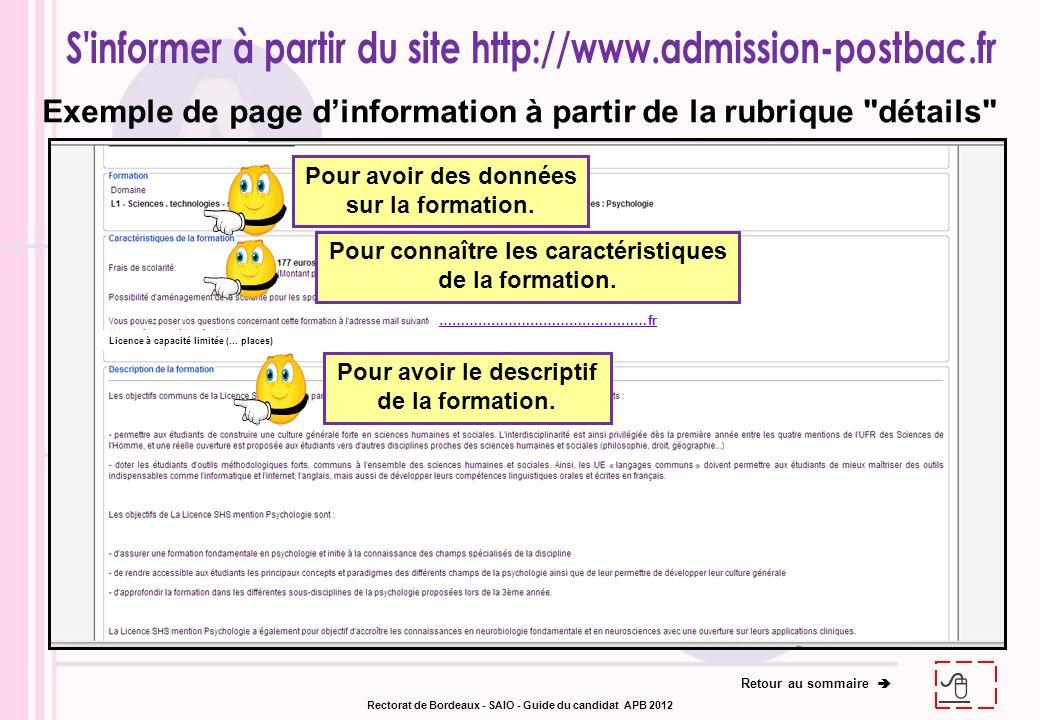 Exemple de page d'information à partir de la rubrique détails