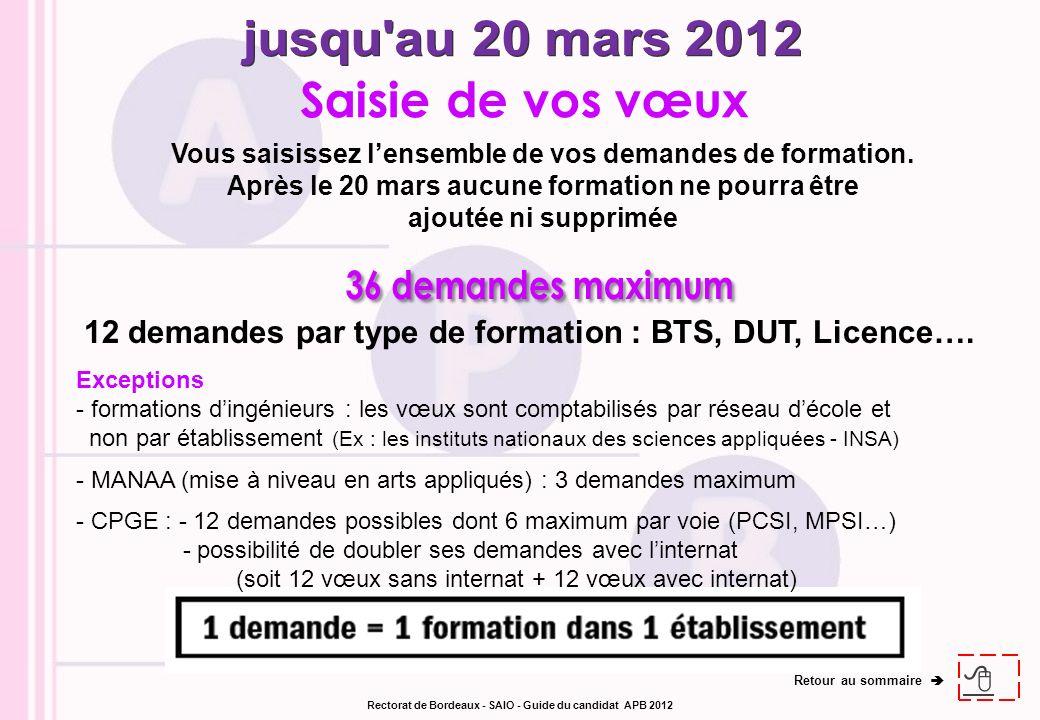 jusqu au 20 mars 2012 36 demandes maximum Saisie de vos vœux