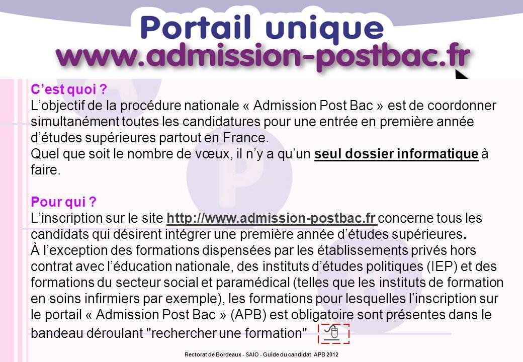 Rectorat de Bordeaux - SAIO - Guide du candidat APB 2012