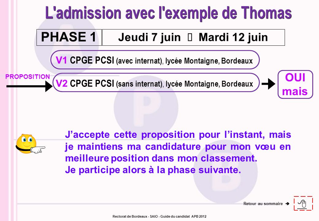 L admission avec l exemple de Thomas