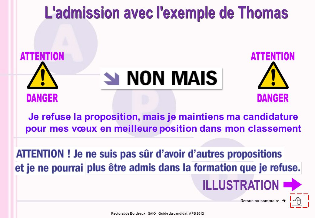 L admission avec l exemple de Thomas ILLUSTRATION