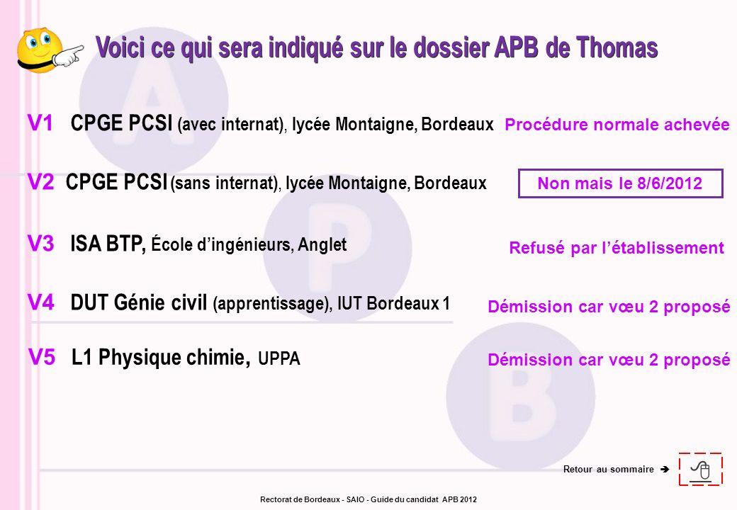 Voici ce qui sera indiqué sur le dossier APB de Thomas