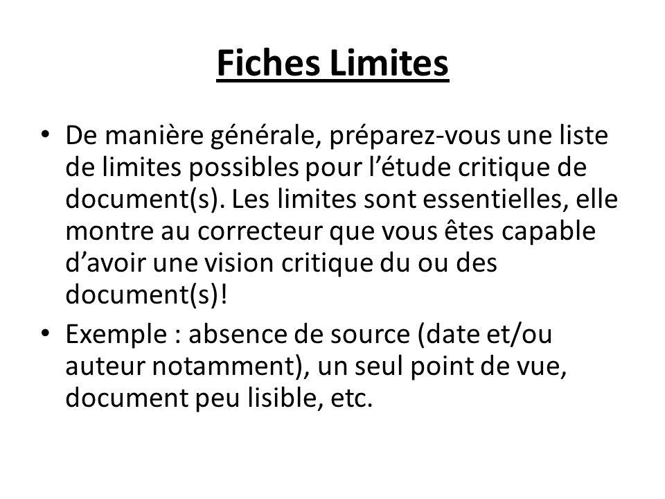Fiches Limites