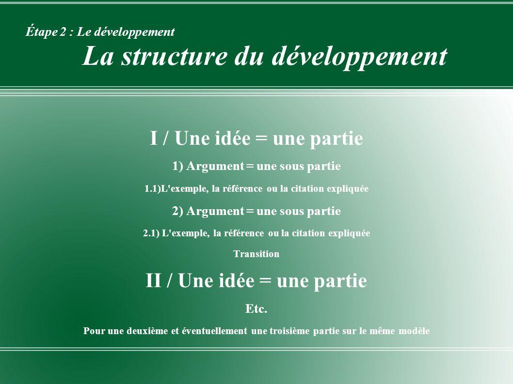 Étape 2 : Le développement La structure du développement