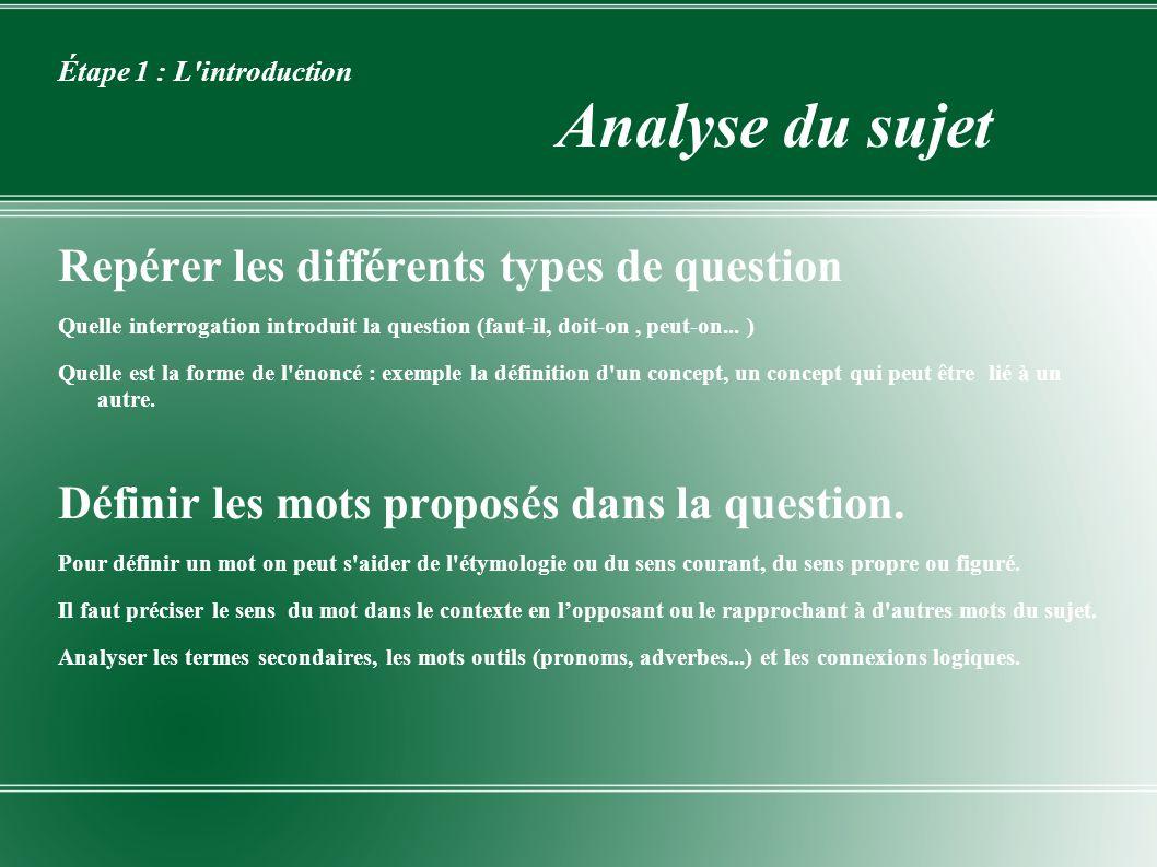 Étape 1 : L introduction Analyse du sujet