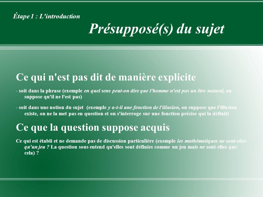 Étape 1 : L introduction Présupposé(s) du sujet