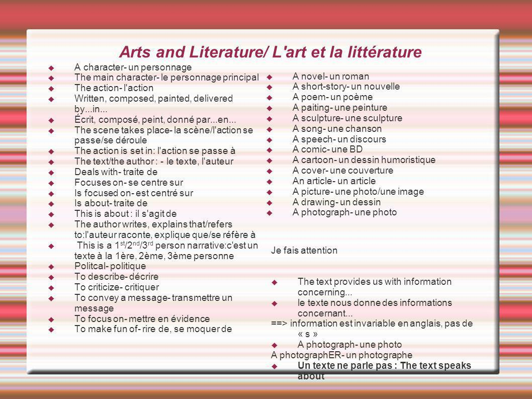 Arts and Literature/ L art et la littérature