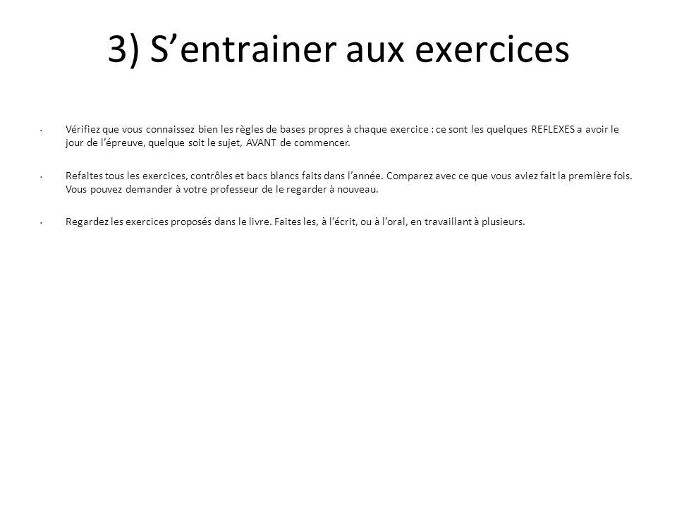3) S'entrainer aux exercices