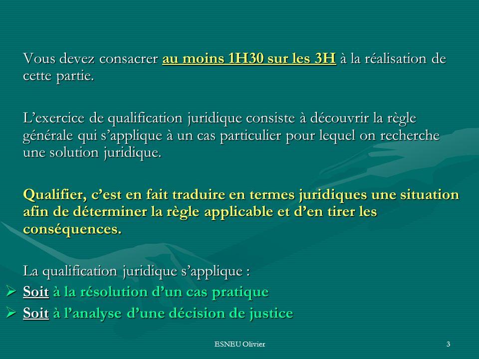 La qualification juridique s'applique :