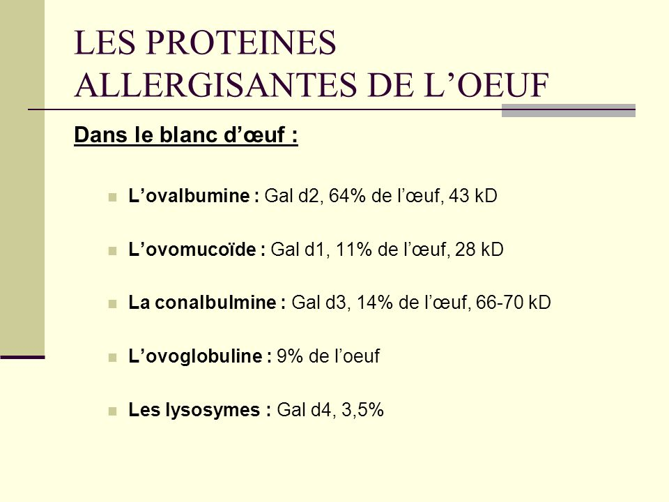 LES PROTEINES ALLERGISANTES DE L'OEUF
