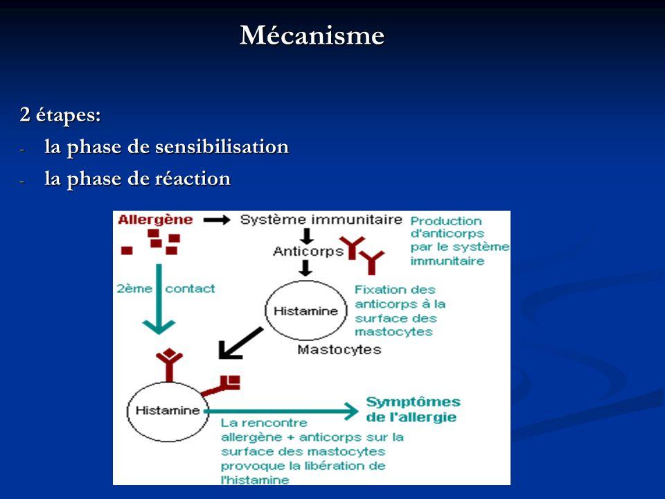 Mécanisme 2 étapes: la phase de sensibilisation la phase de réaction