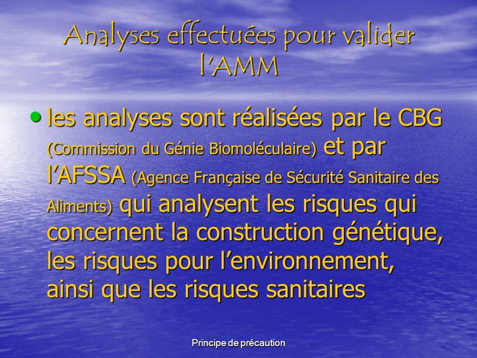Analyses effectuées pour valider l AMM