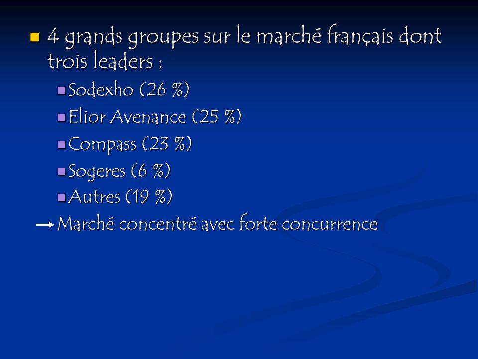4 grands groupes sur le marché français dont trois leaders :