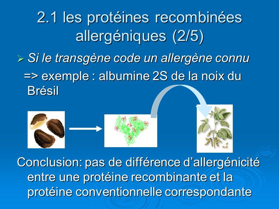 2.1 les protéines recombinées allergéniques (2/5)