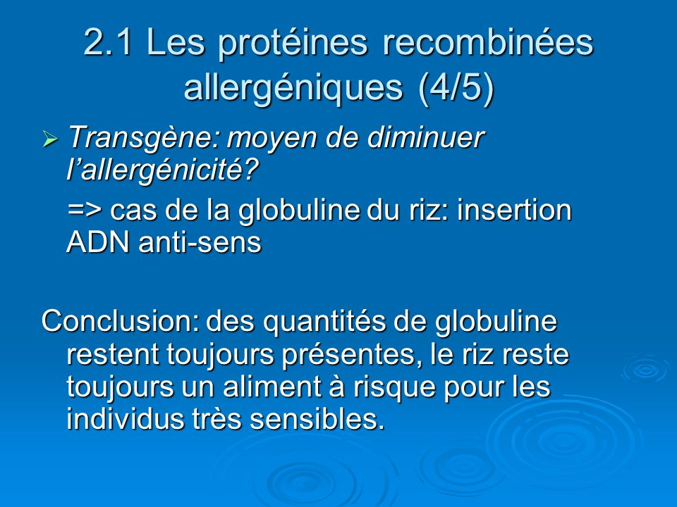 2.1 Les protéines recombinées allergéniques (4/5)