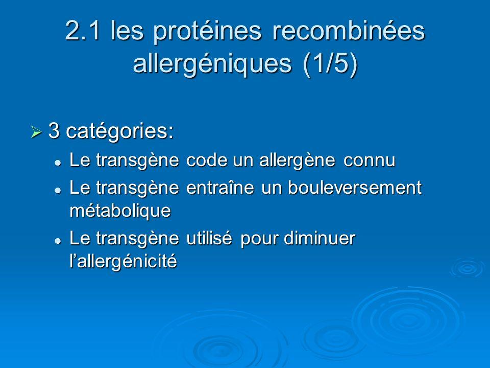 2.1 les protéines recombinées allergéniques (1/5)