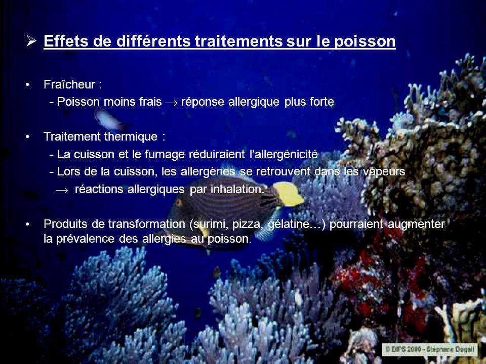 Effets de différents traitements sur le poisson