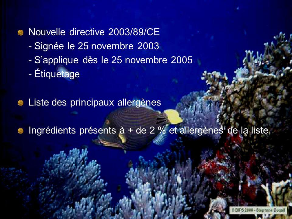 Nouvelle directive 2003/89/CE