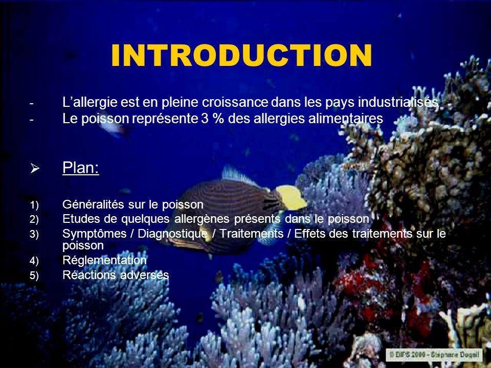 INTRODUCTION L'allergie est en pleine croissance dans les pays industrialisés. Le poisson représente 3 % des allergies alimentaires.