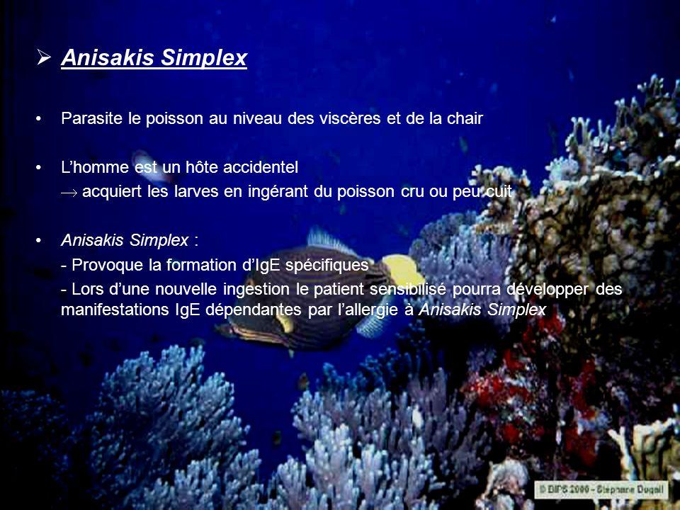 Anisakis Simplex Parasite le poisson au niveau des viscères et de la chair. L'homme est un hôte accidentel.