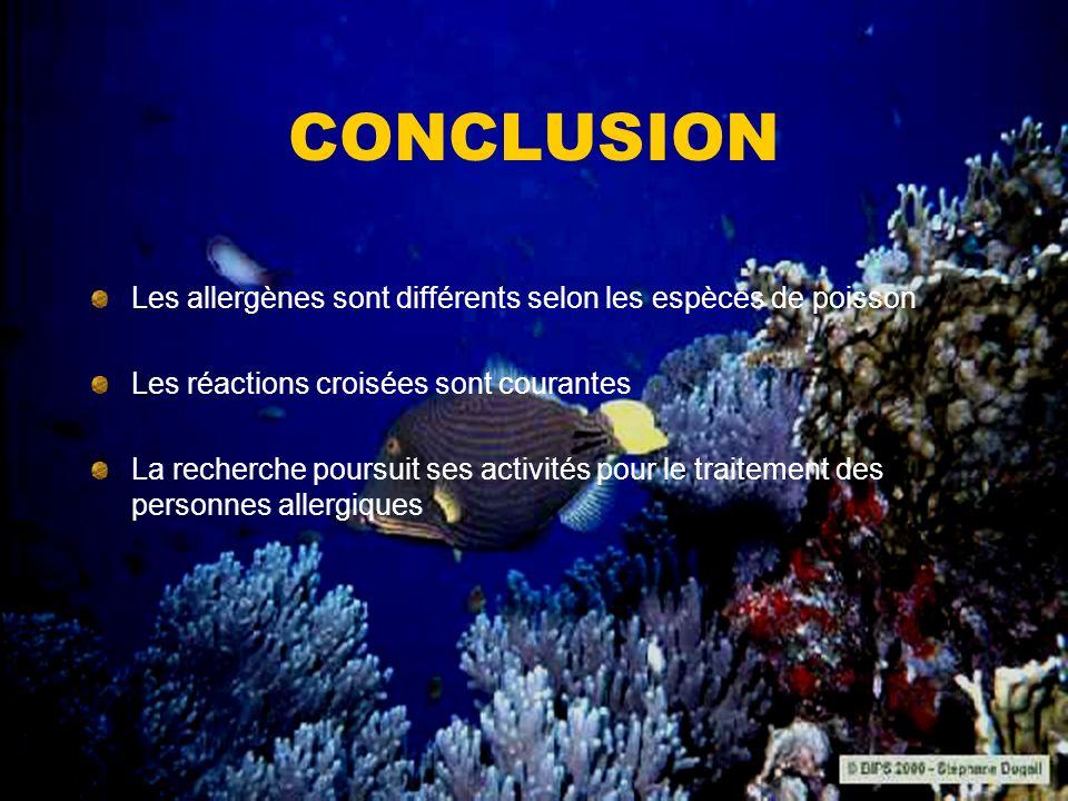 CONCLUSION Les allergènes sont différents selon les espèces de poisson
