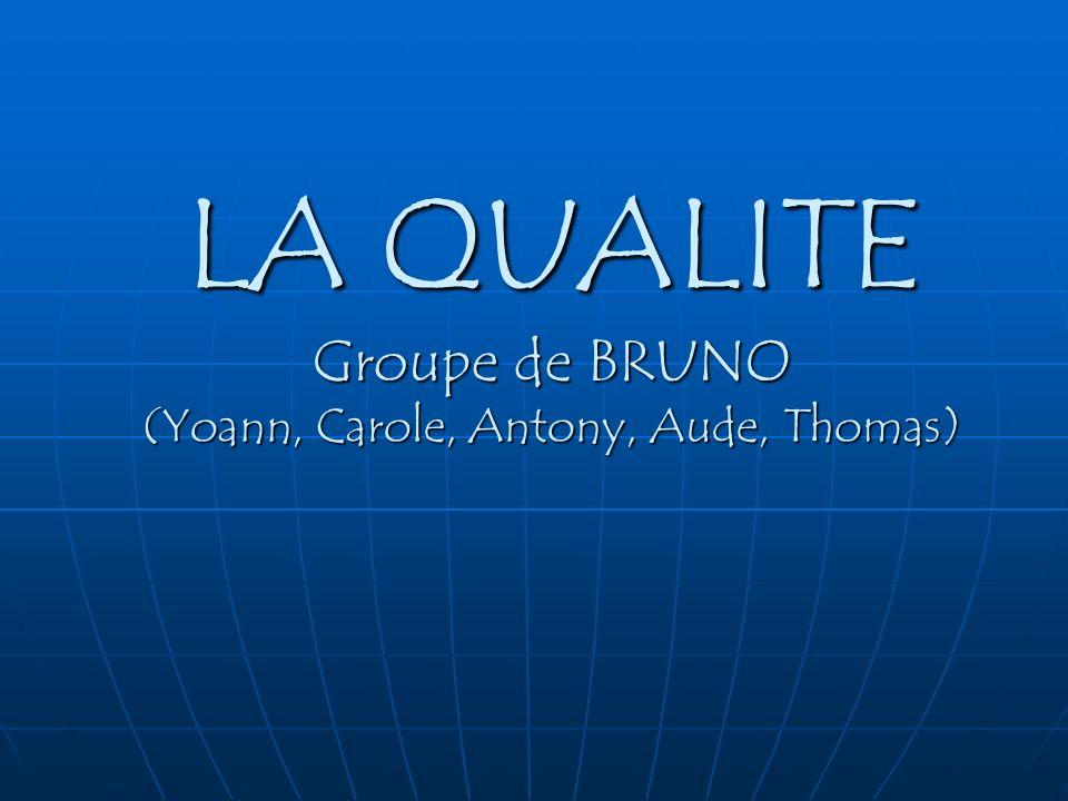 LA QUALITE Groupe de BRUNO (Yoann, Carole, Antony, Aude, Thomas)