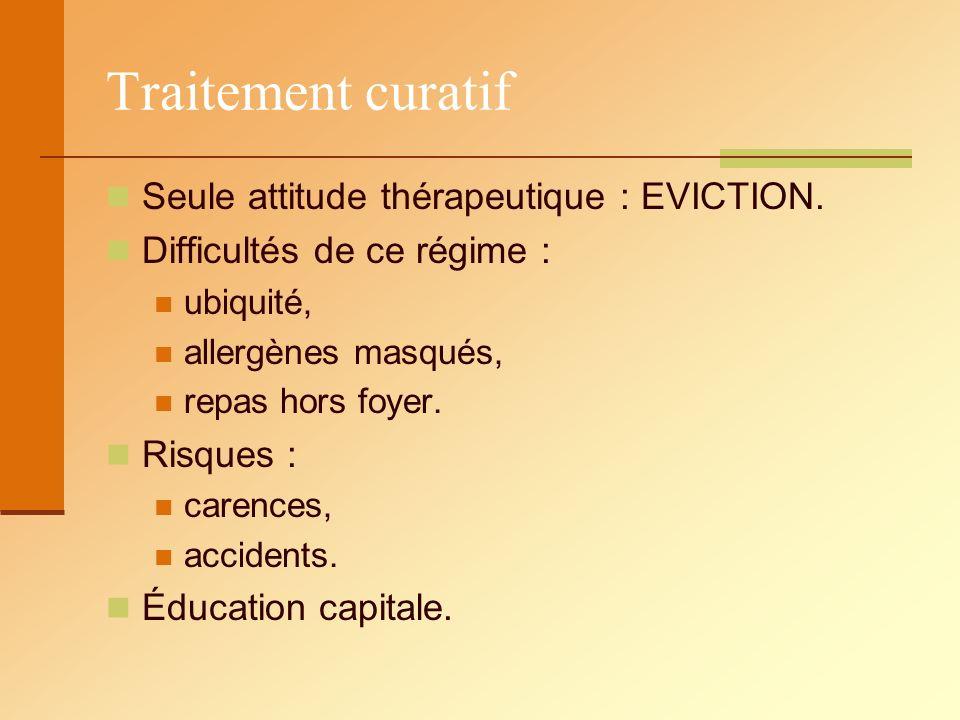 Traitement curatif Seule attitude thérapeutique : EVICTION.