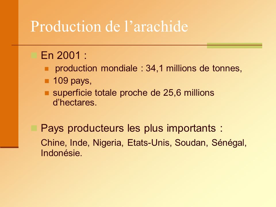Production de l'arachide