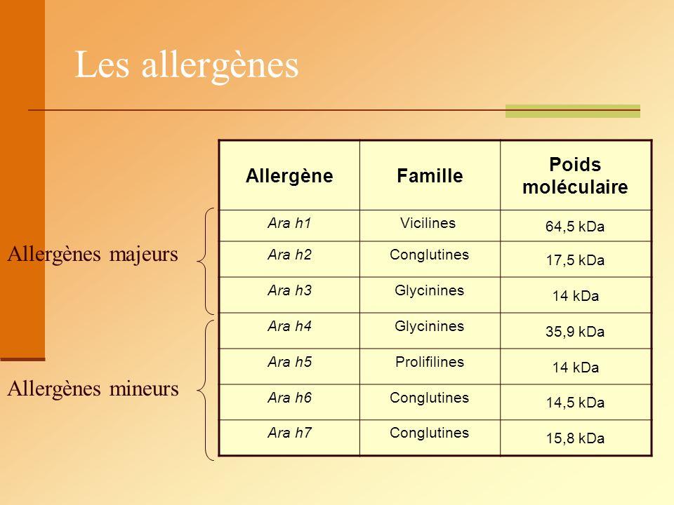 Les allergènes Allergènes majeurs Allergènes mineurs Allergène Famille