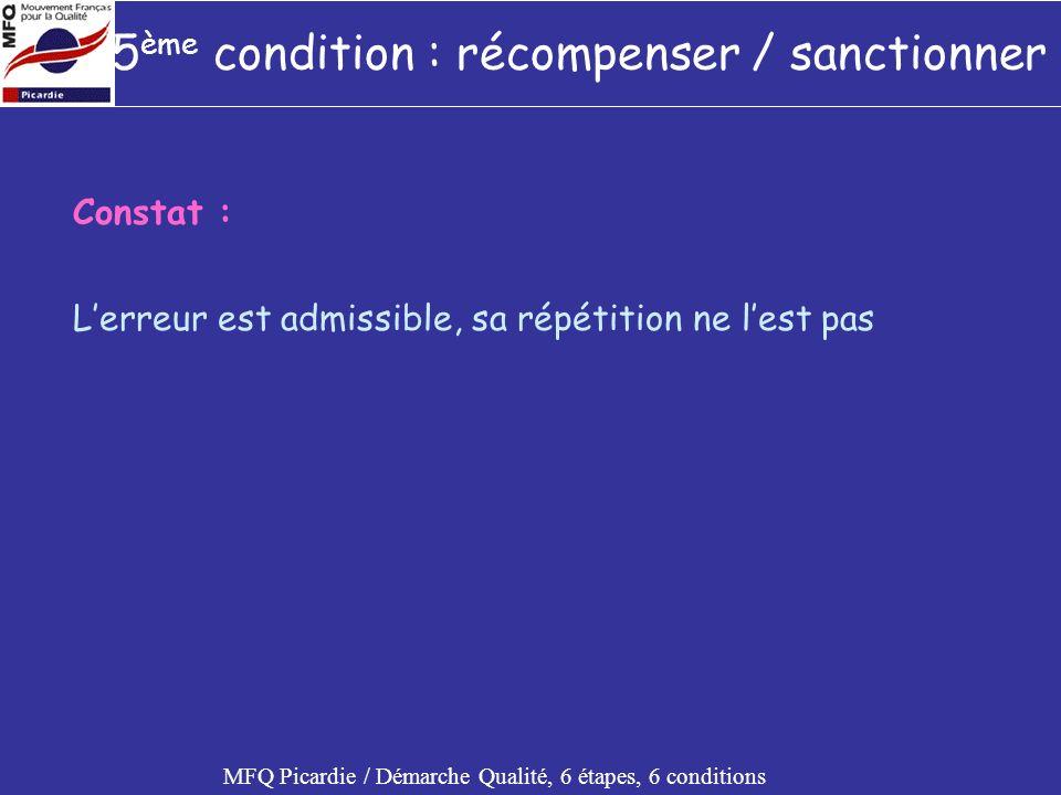 5ème condition : récompenser / sanctionner